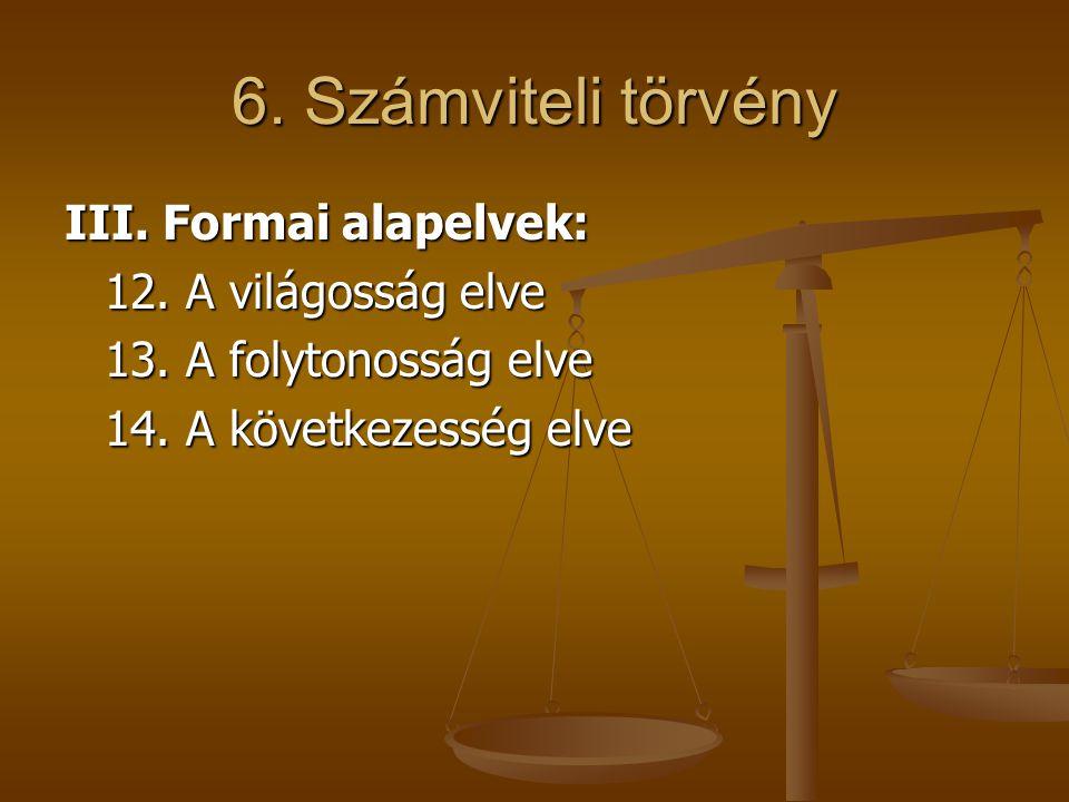 6. Számviteli törvény III. Formai alapelvek: 12. A világosság elve