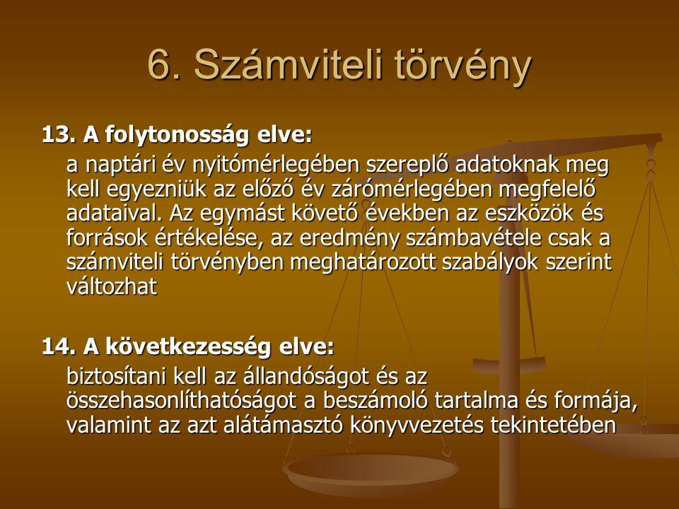 6. Számviteli törvény 13. A folytonosság elve: