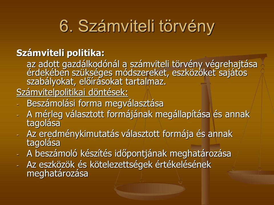 6. Számviteli törvény Számviteli politika: