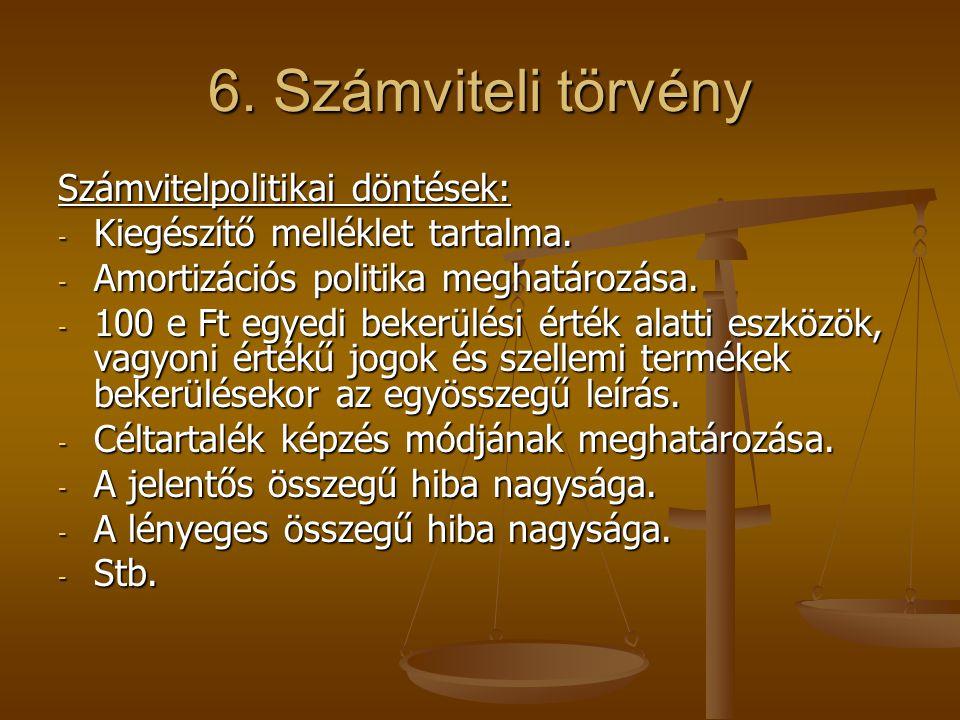 6. Számviteli törvény Számvitelpolitikai döntések: