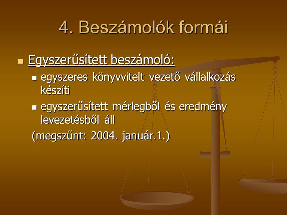 4. Beszámolók formái Egyszerűsített beszámoló: