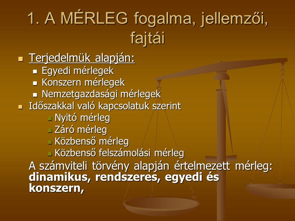 1. A MÉRLEG fogalma, jellemzői, fajtái