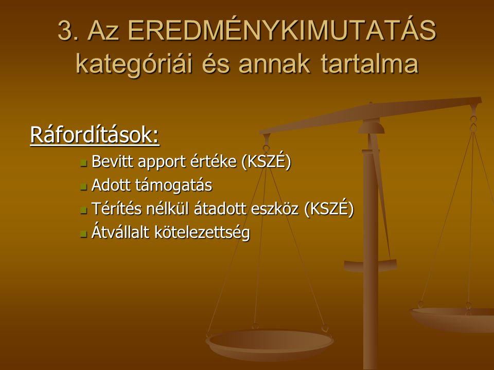 3. Az EREDMÉNYKIMUTATÁS kategóriái és annak tartalma