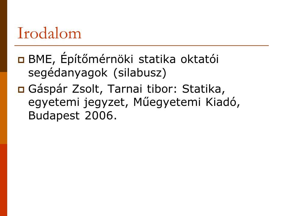 Irodalom BME, Építőmérnöki statika oktatói segédanyagok (silabusz)