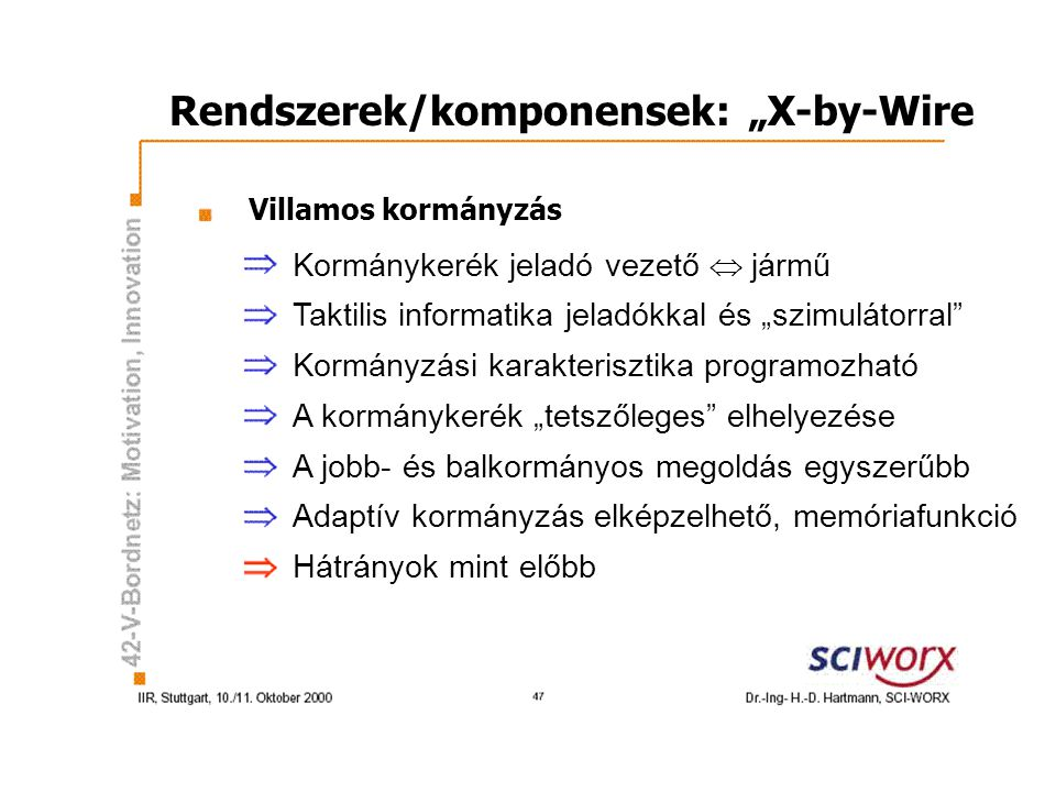"Rendszerek/komponensek: ""X-by-Wire"