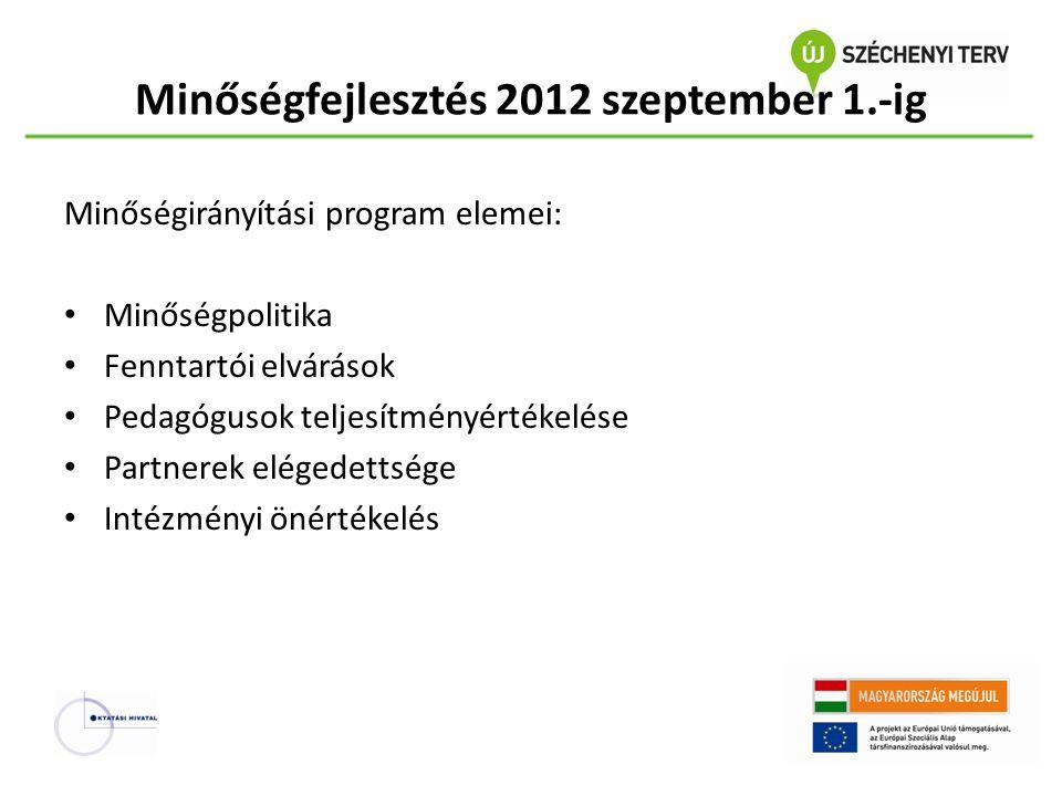 Minőségfejlesztés 2012 szeptember 1.-ig