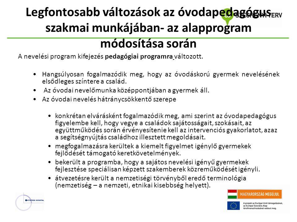 Legfontosabb változások az óvodapedagógus szakmai munkájában- az alapprogram módosítása során