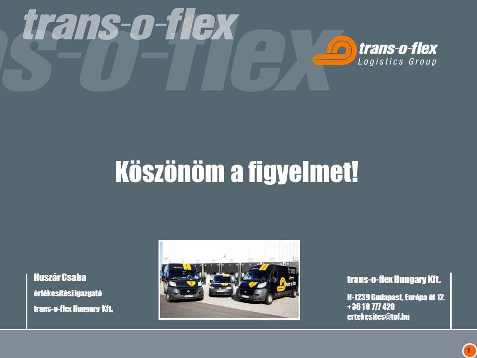 Köszönöm a figyelmet! trans-o-flex Hungary Kft.