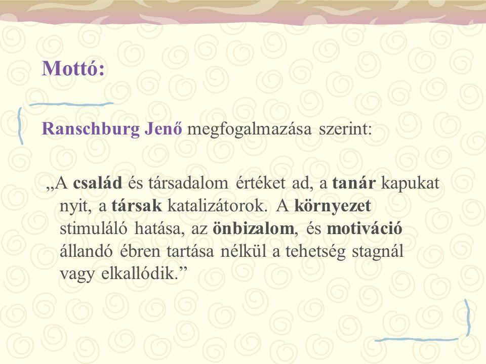 Mottó: Ranschburg Jenő megfogalmazása szerint: