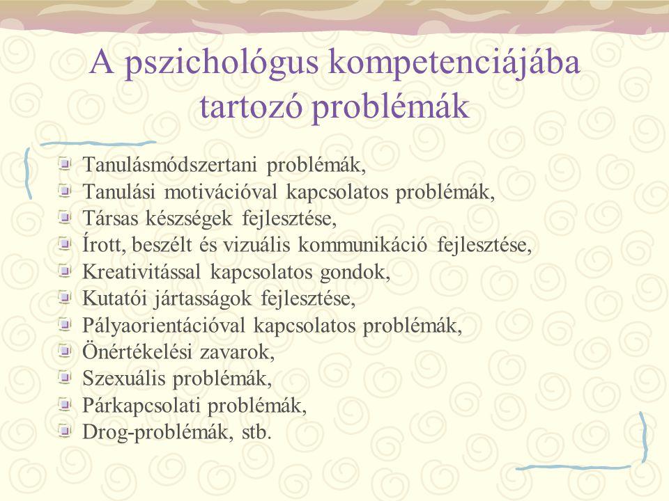 A pszichológus kompetenciájába tartozó problémák