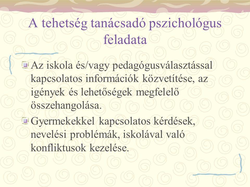 A tehetség tanácsadó pszichológus feladata