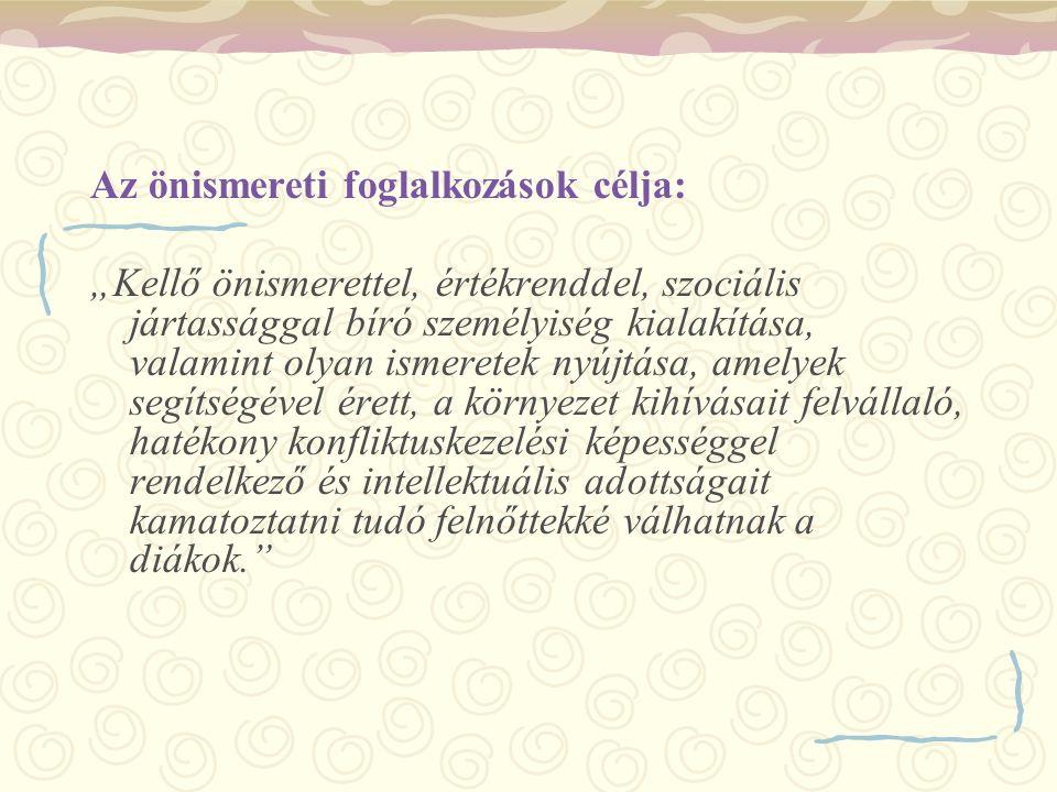 Az önismereti foglalkozások célja: