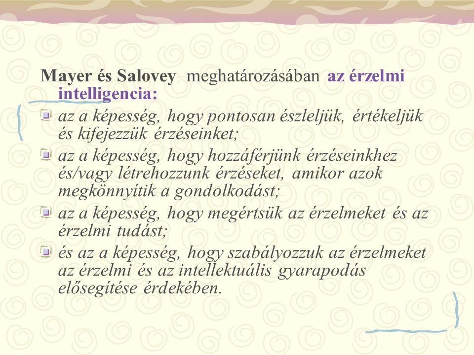 Mayer és Salovey meghatározásában az érzelmi intelligencia:
