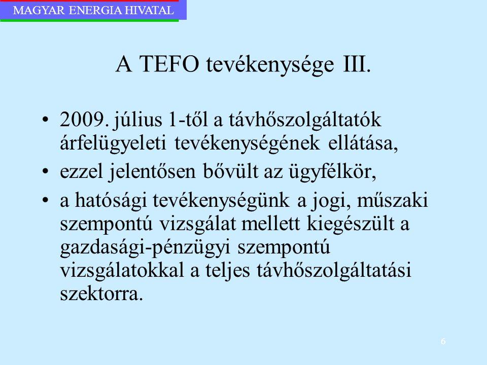 A TEFO tevékenysége III.