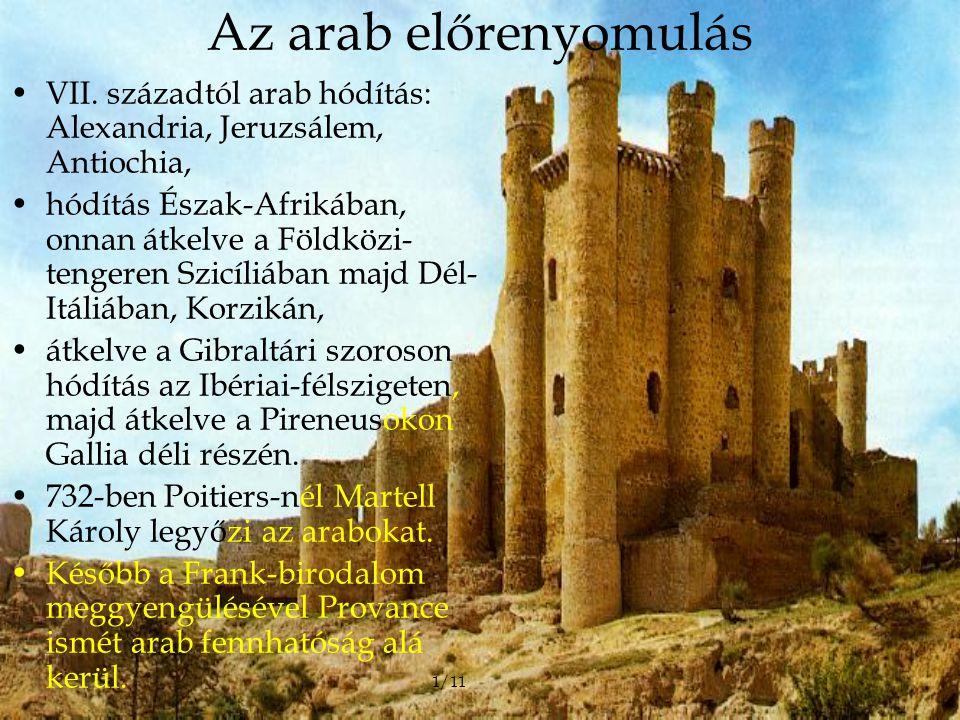 Az arab előrenyomulás VII. századtól arab hódítás: Alexandria, Jeruzsálem, Antiochia,