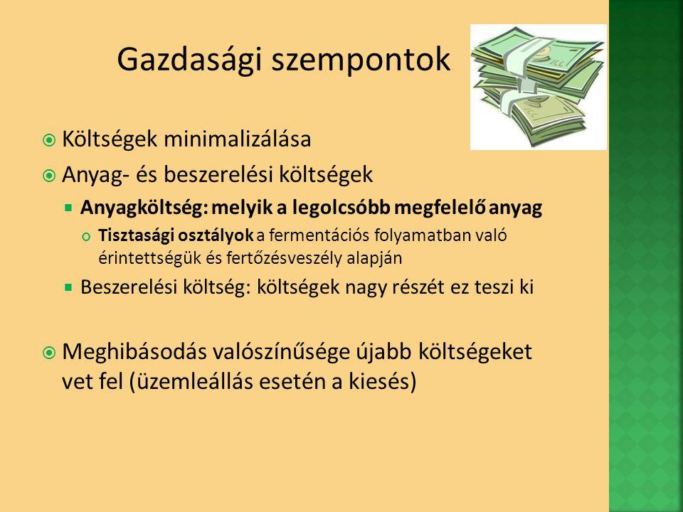 Gazdasági szempontok Költségek minimalizálása