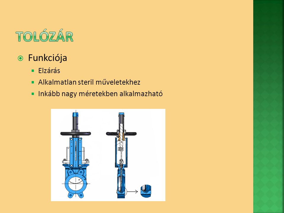 Tolózár Funkciója Elzárás Alkalmatlan steril műveletekhez