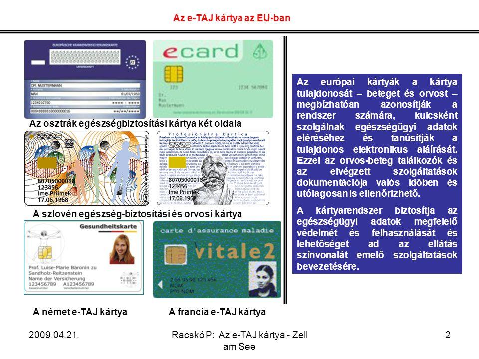 Az e-TAJ kártya az EU-ban