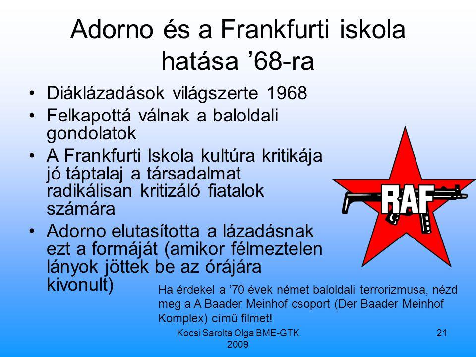 Adorno és a Frankfurti iskola hatása '68-ra