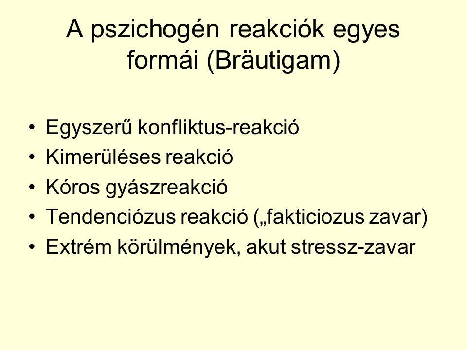 A pszichogén reakciók egyes formái (Bräutigam)