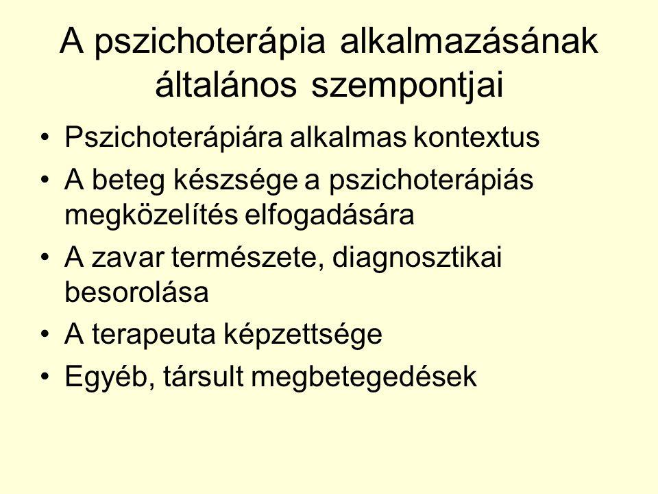 A pszichoterápia alkalmazásának általános szempontjai