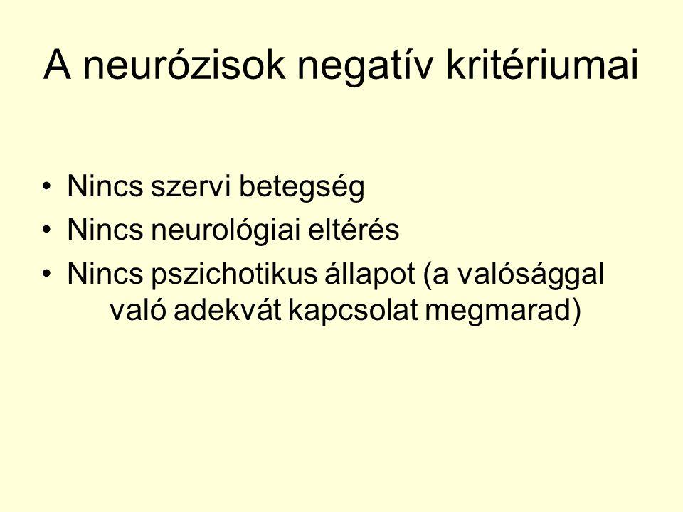 A neurózisok negatív kritériumai