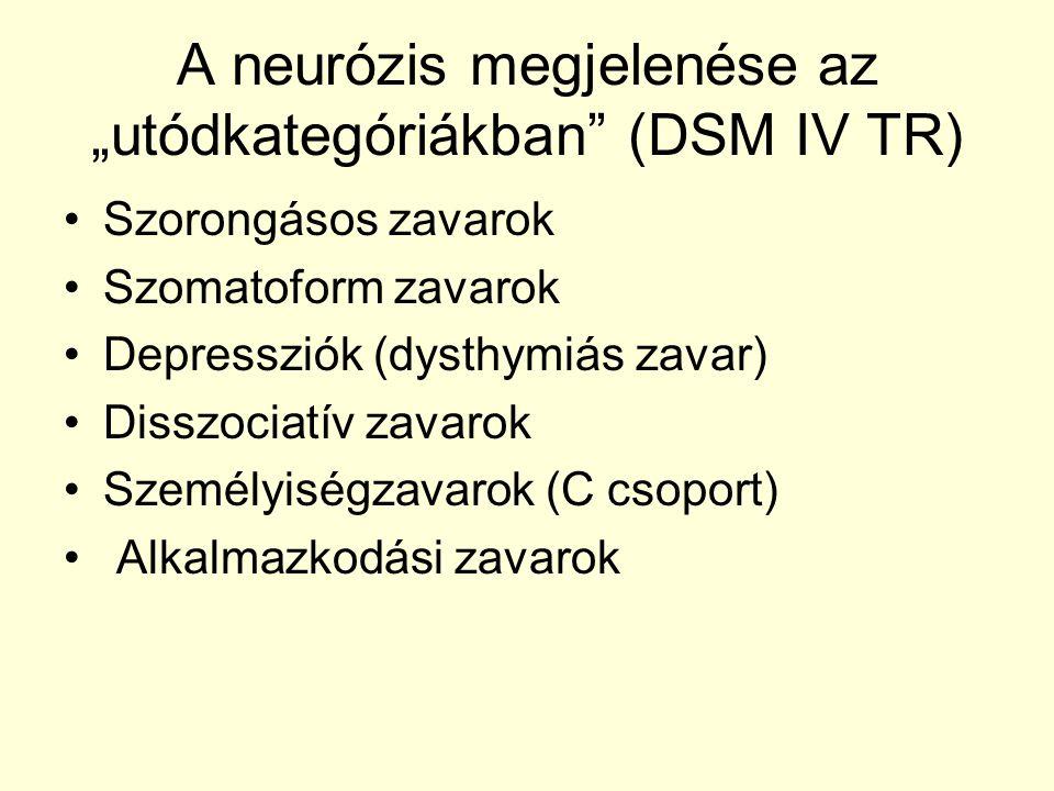 """A neurózis megjelenése az """"utódkategóriákban (DSM IV TR)"""