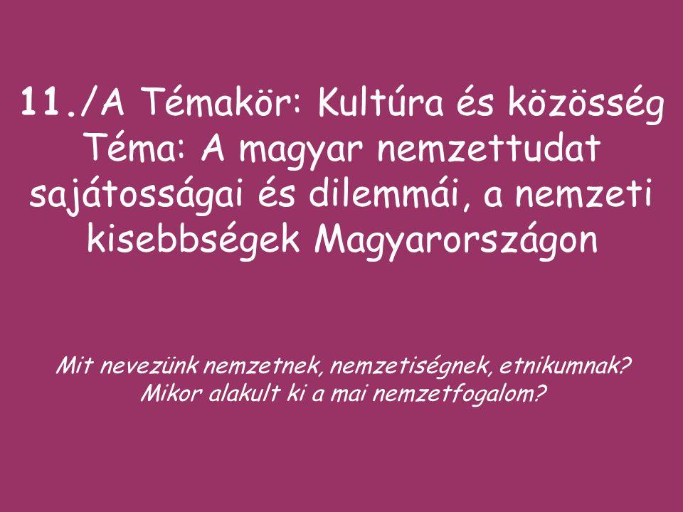11./A Témakör: Kultúra és közösség Téma: A magyar nemzettudat sajátosságai és dilemmái, a nemzeti kisebbségek Magyarországon Mit nevezünk nemzetnek, nemzetiségnek, etnikumnak.