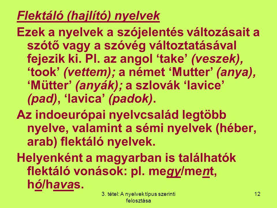 3. tétel: A nyelvek típus szerinti felosztása