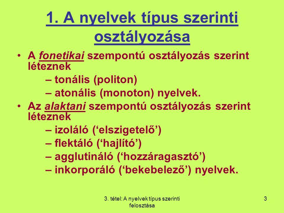 1. A nyelvek típus szerinti osztályozása