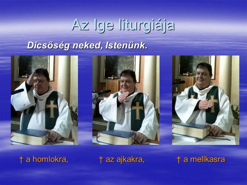 Az Ige liturgiája Dicsőség neked, Istenünk. † a homlokra,