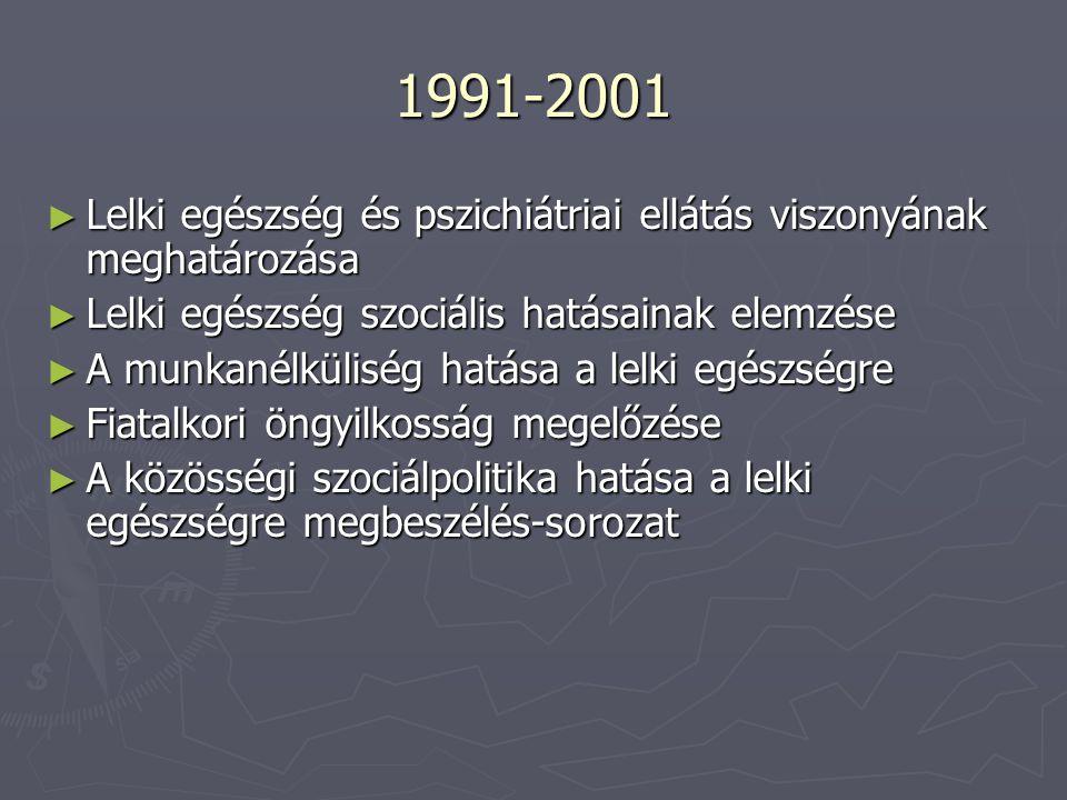 1991-2001 Lelki egészség és pszichiátriai ellátás viszonyának meghatározása. Lelki egészség szociális hatásainak elemzése.