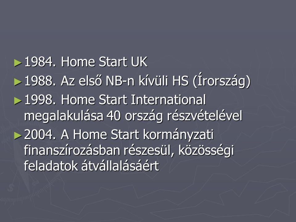 1984. Home Start UK 1988. Az első NB-n kívüli HS (Írország) 1998. Home Start International megalakulása 40 ország részvételével.
