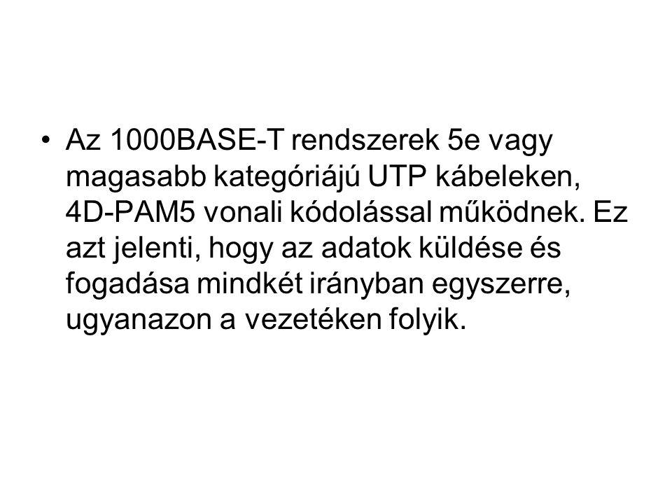 Az 1000BASE-T rendszerek 5e vagy magasabb kategóriájú UTP kábeleken, 4D-PAM5 vonali kódolással működnek.