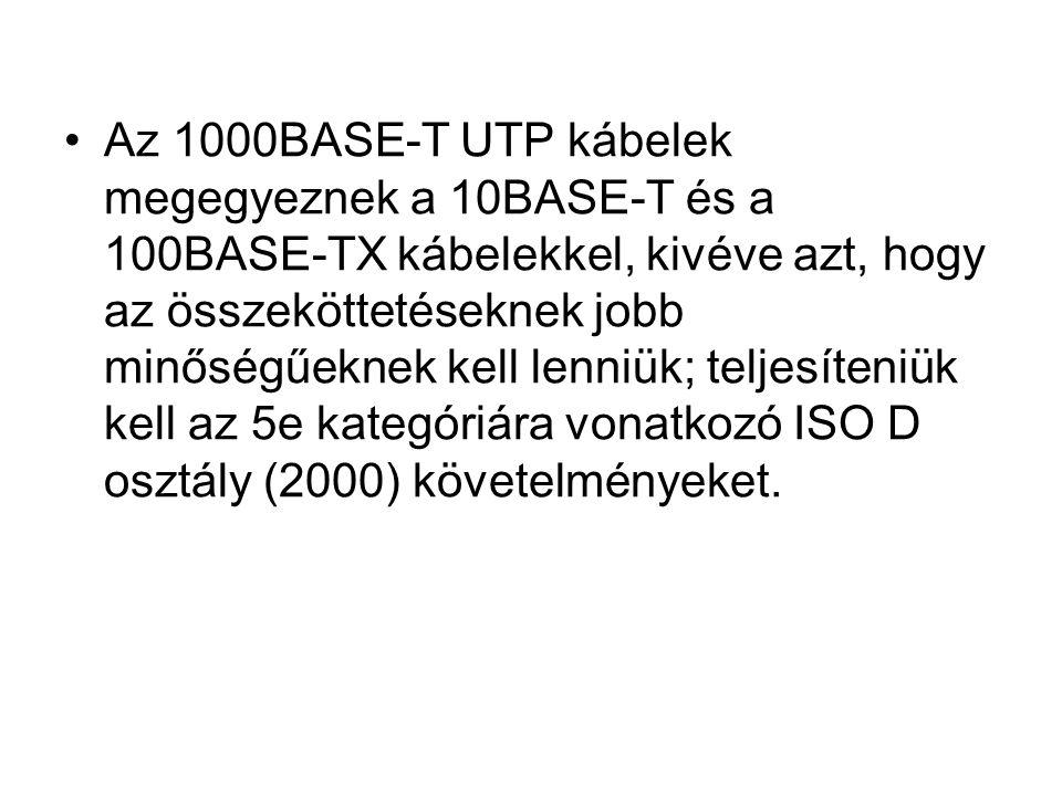 Az 1000BASE-T UTP kábelek megegyeznek a 10BASE-T és a 100BASE-TX kábelekkel, kivéve azt, hogy az összeköttetéseknek jobb minőségűeknek kell lenniük; teljesíteniük kell az 5e kategóriára vonatkozó ISO D osztály (2000) követelményeket.