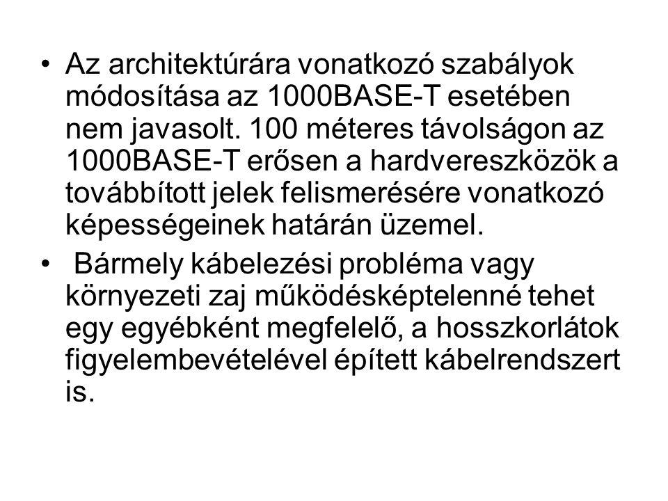Az architektúrára vonatkozó szabályok módosítása az 1000BASE-T esetében nem javasolt. 100 méteres távolságon az 1000BASE-T erősen a hardvereszközök a továbbított jelek felismerésére vonatkozó képességeinek határán üzemel.