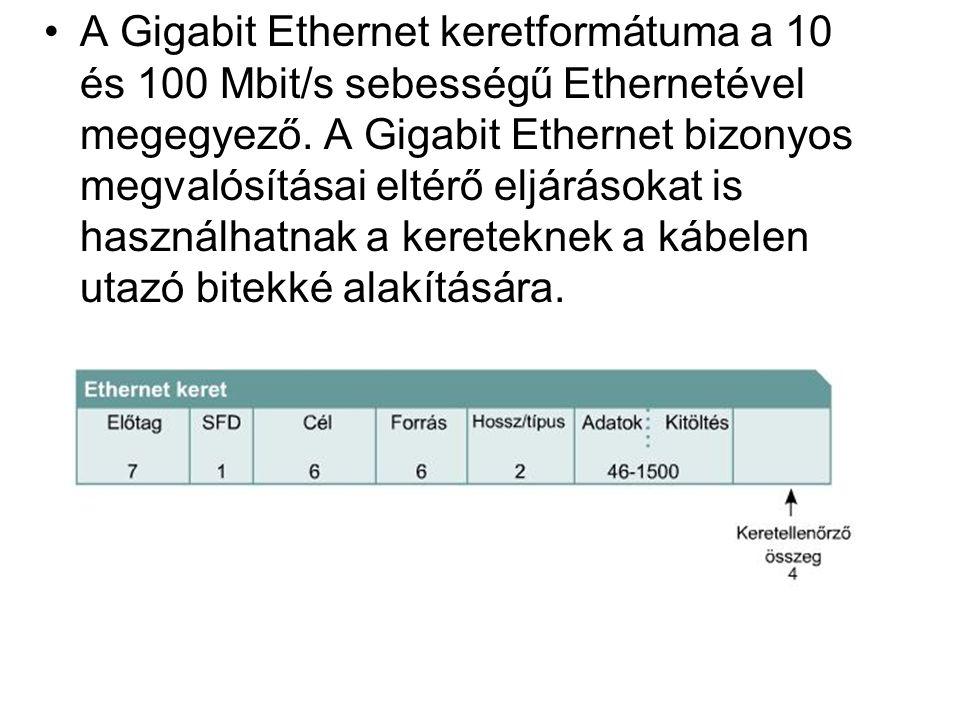A Gigabit Ethernet keretformátuma a 10 és 100 Mbit/s sebességű Ethernetével megegyező.
