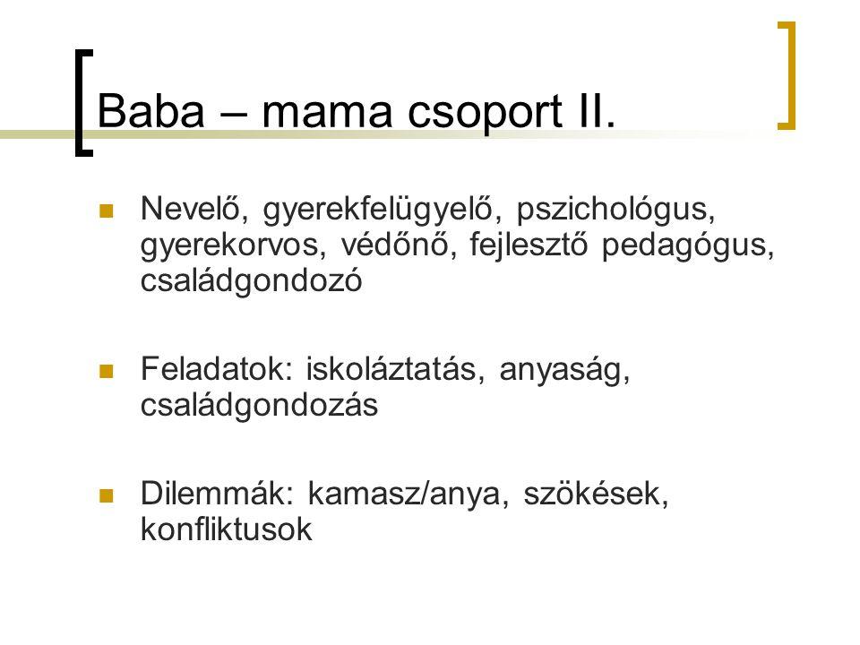 Baba – mama csoport II. Nevelő, gyerekfelügyelő, pszichológus, gyerekorvos, védőnő, fejlesztő pedagógus, családgondozó.