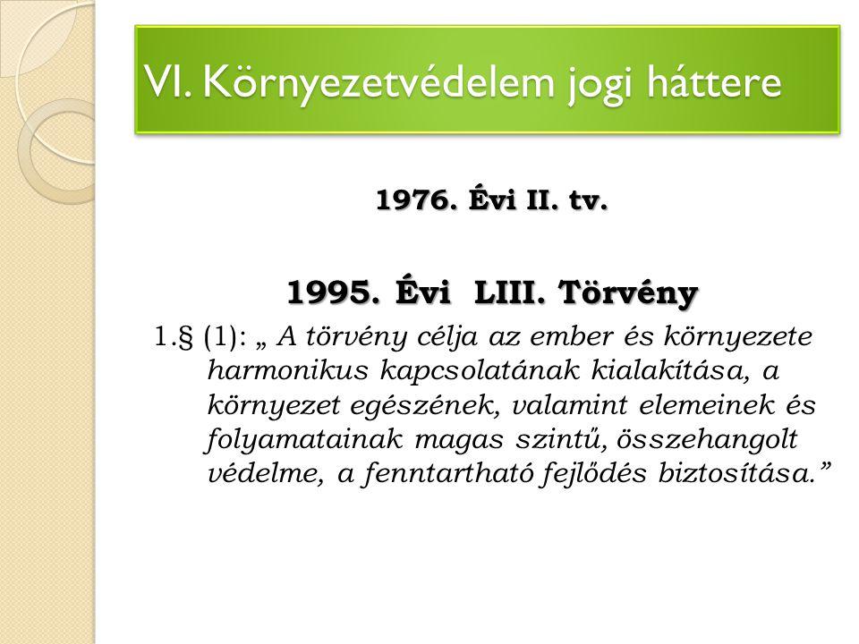 VI. Környezetvédelem jogi háttere