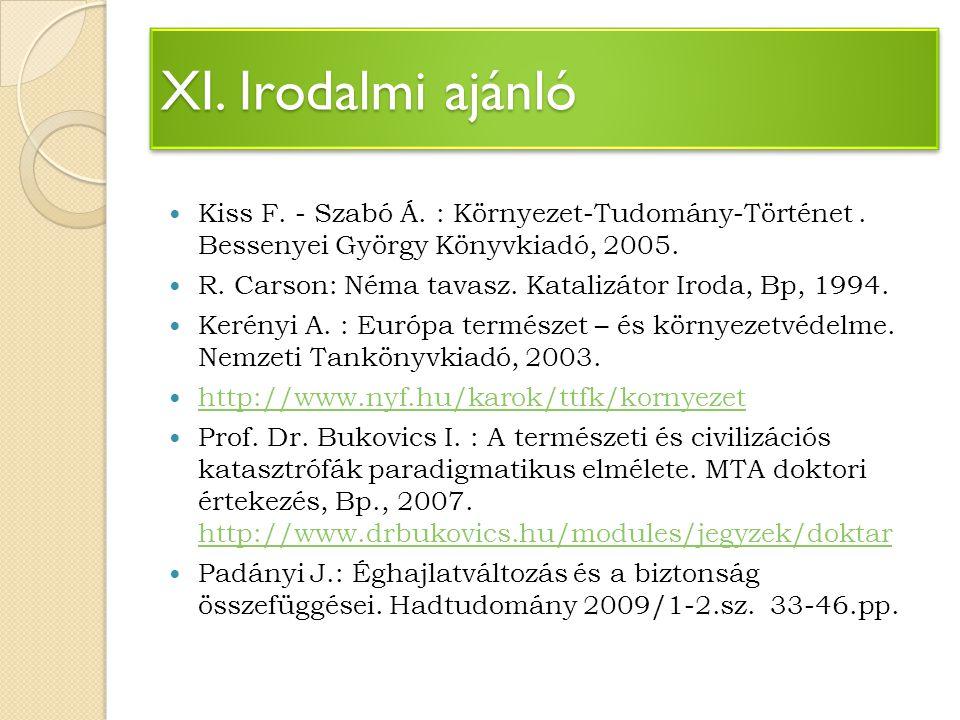 XI. Irodalmi ajánló Kiss F. - Szabó Á. : Környezet-Tudomány-Történet . Bessenyei György Könyvkiadó, 2005.