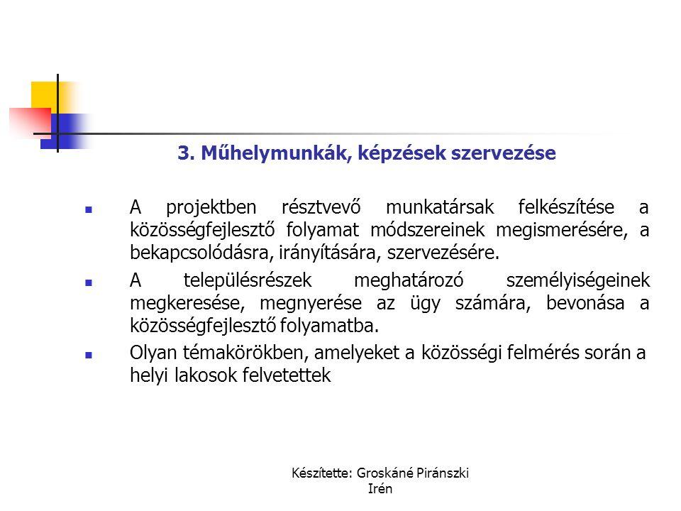 3. Műhelymunkák, képzések szervezése