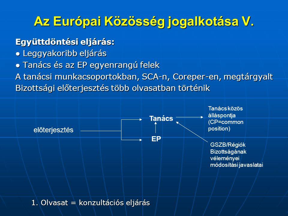 Az Európai Közösség jogalkotása V.