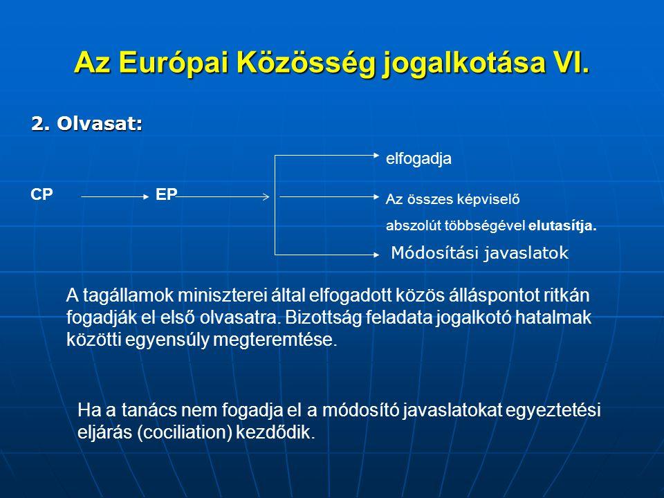 Az Európai Közösség jogalkotása VI.