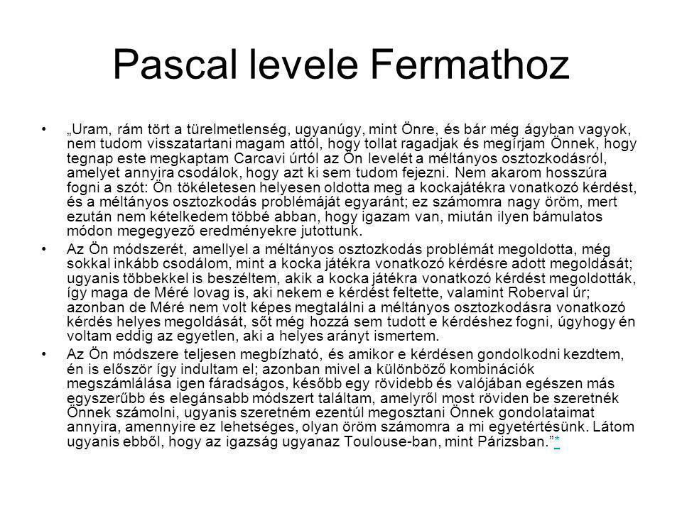Pascal levele Fermathoz