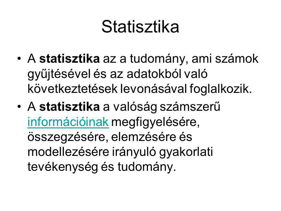 Statisztika A statisztika az a tudomány, ami számok gyűjtésével és az adatokból való következtetések levonásával foglalkozik.