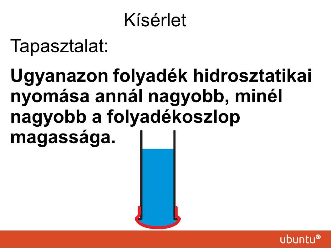 Kísérlet Tapasztalat: Ugyanazon folyadék hidrosztatikai nyomása annál nagyobb, minél nagyobb a folyadékoszlop magassága.