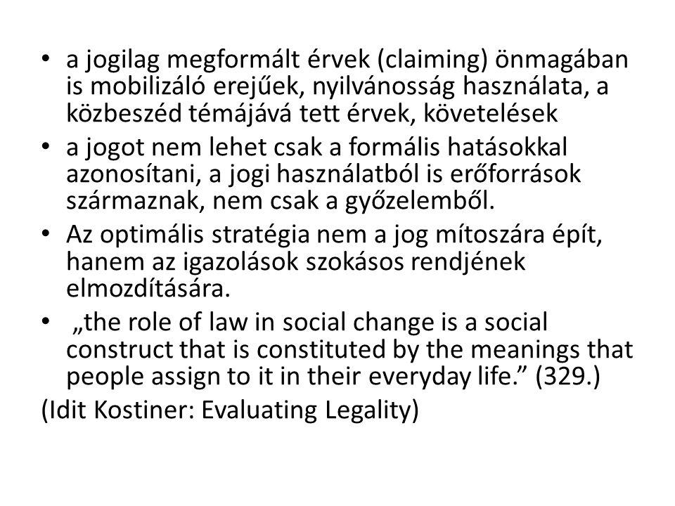 a jogilag megformált érvek (claiming) önmagában is mobilizáló erejűek, nyilvánosság használata, a közbeszéd témájává tett érvek, követelések