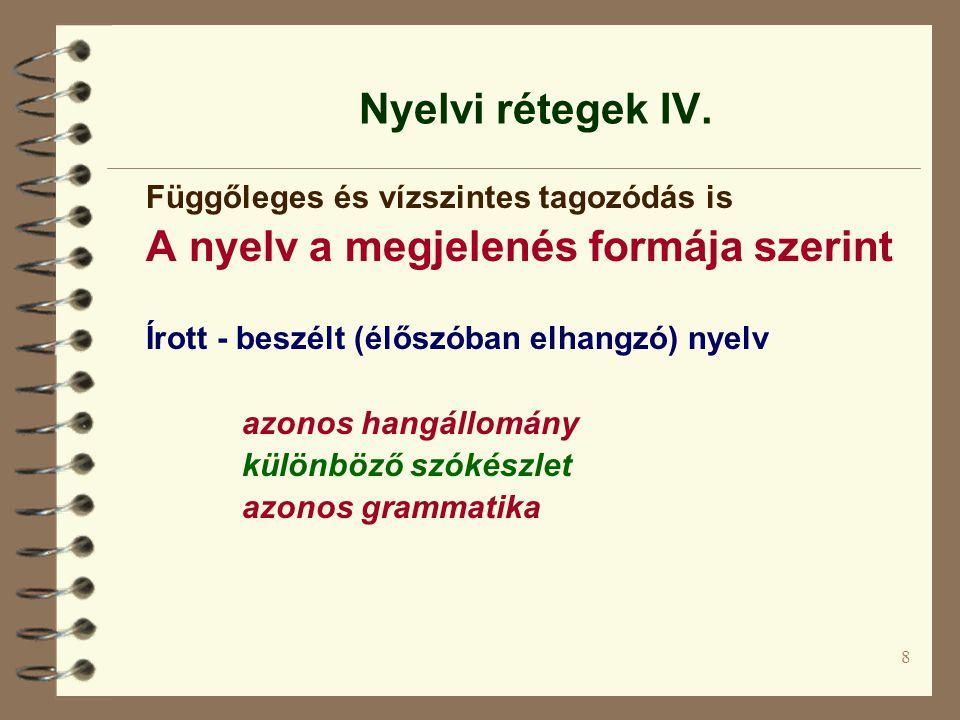 A nyelv a megjelenés formája szerint