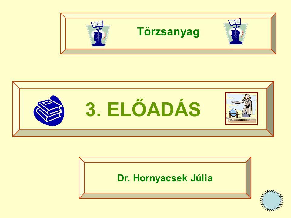 Törzsanyag 3. ELŐADÁS Dr. Hornyacsek Júlia