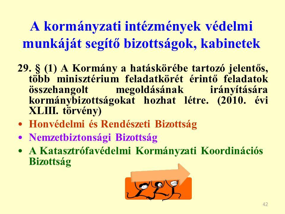 A kormányzati intézmények védelmi munkáját segítő bizottságok, kabinetek